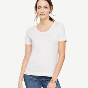 NEW Ann Taylor Pima Cotton Scoop Neck Tee in White